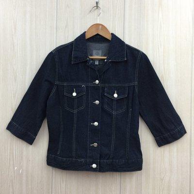 【愛莎&嵐】ESPRIT 女 藍色五分袖牛仔外套 / USA-L 1080227