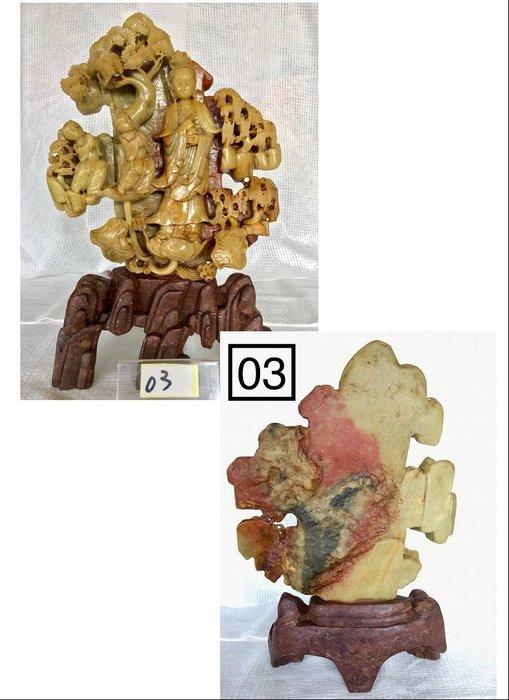 【順昌】《早期天然壽山石系 童子拜觀音雕刻 擺件(擺飾)》Y169