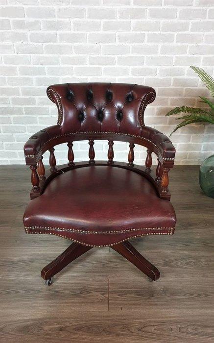【卡卡頌 歐洲古董】🔶英國老件~Chesterfield 桃花心木 牛皮 可調式 釘扣 辦公椅 書桌椅ch0358 ✬