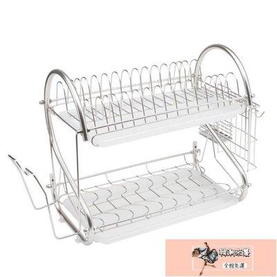 瀝水架304不銹鋼碗架瀝水架下雙層碗架碗碟架廚房置物架收納架XW【韓潮來襲】