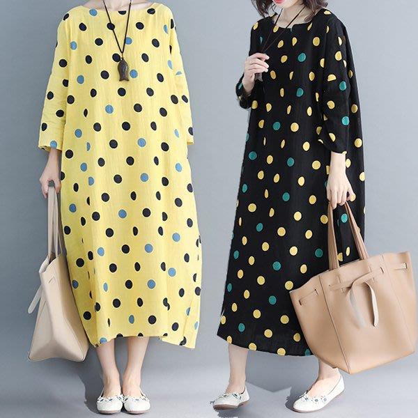 洋裝 .文藝棉麻點點印花中大尺碼寬鬆長袖洋裝【KX0173】寬大洋裝