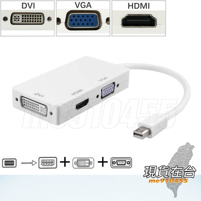DP轉換線 三合一 mini displayport to HDMI VGA DVI 連接線 傳輸線 DP轉換器  現貨