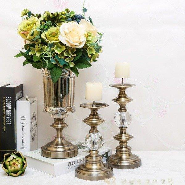 5Cgo【批發】含稅525001149420 新古典歐式美式豪宅樣品屋家居裝飾品超經典古銅水晶玻璃蠟燭台燭光晚餐情人-小