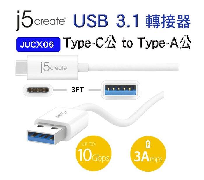 【開心驛站】凱捷  j5 create JUCX06 USB 3.1 Type- C to Type-A傳輸線