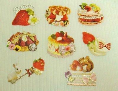 日本 Flake Stickers 蛋糕(02) 箔押貼紙(8枚)