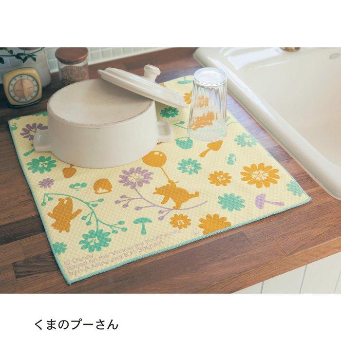 迪士尼DISNEY《現貨》小熊維尼 餐具吸水墊 瀝水布 一大一小2條一組~日本正品~心心小舖