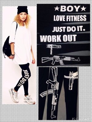 歐美街頭潮 重磅WORK OUT英文 圖騰 造型 字母 運動 健身 內搭褲leggings瑜珈 爵士