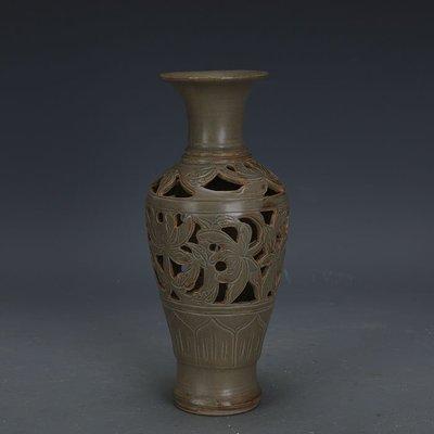 ㊣姥姥的寶藏㊣ 宋代越窯青釉手工刻花鏤空觀音瓶  出土文物古瓷器古玩古董收藏品
