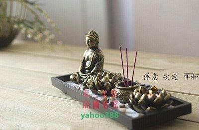 美學98中式禅意木質佛像香薰爐 佛像燭台 香座工藝品裝飾擺件3688❖9333