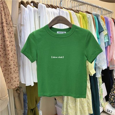 【slow club】 TRUST ME 2020夏季新品短袖修身款短款高腰純色百搭緊身顯瘦T恤女