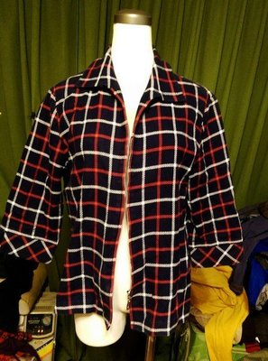 名牌 gennies madam 深藍格子 五分袖小外套