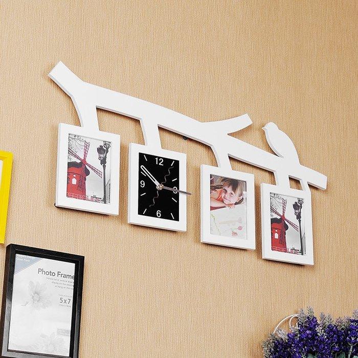 小鳥創意照片墻相框家用掛鐘客廳掛錶裝飾鐘錶臥室個性時鐘超靜音WY
