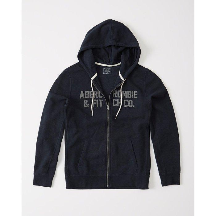 美國百分百【Abercrombie & Fitch】外套 AF 連帽 夾克 外搭 麋鹿 深藍 XS S號 I597