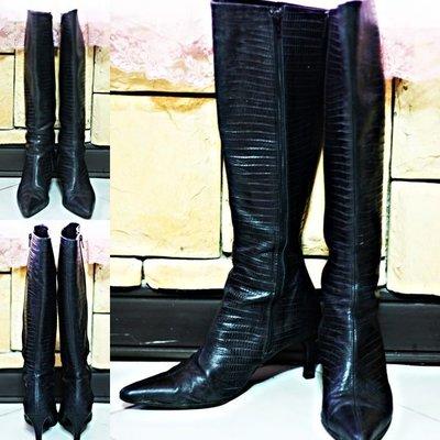 義大利貴族手工鞋之最kalliste Lizard skin boots黑蜥蜴皮尖頭高跟長靴