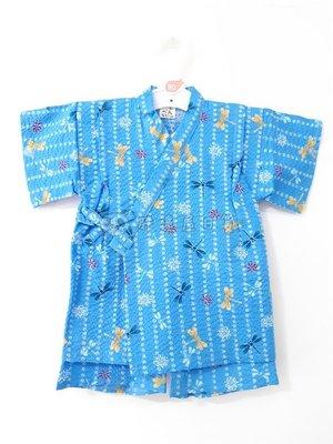 ✪胖達屋日貨✪褲款 90cm 水藍底 直紋 蜻蜓 蒲公英  日本製 男 寶寶 兒童 和服 浴衣 甚平 抓周 收涎 攝影