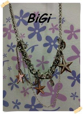 。BiGi【全新專櫃商品】銀灰色 個性時尚款水鑽五角銅星星墜造型大小圓目多鍊相疊金屬項鍊。F號