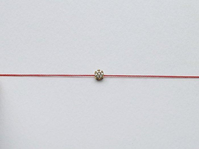 [Le Bonheur Line] 幸福線 手工 / 爪鑲圓七小鑽 / 紅線手鍊