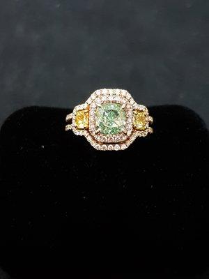 GIA綠彩鑽戒1.74克拉VVS2-Fancy Light等級(無帶Yellow、Brown) 另售GIA鑽石