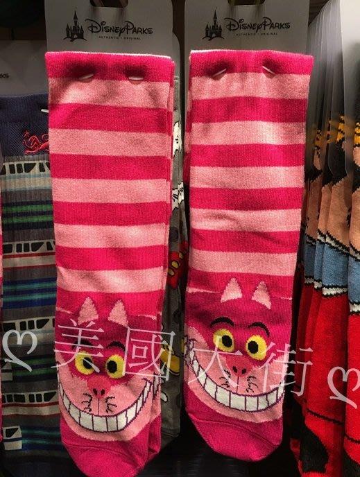 【美國大街】正品.美國迪士尼愛麗絲夢遊仙境笑笑貓及膝襪笑笑貓長襪笑笑貓長筒襪笑笑貓襪子【女生5-10號 / 男5-9號】