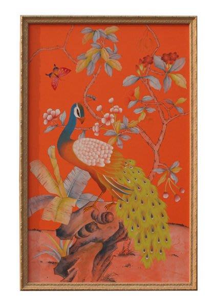 【芮洛蔓 La Romance】東情西韻系列手繪絹絲畫飾 孔雀 CHR-006