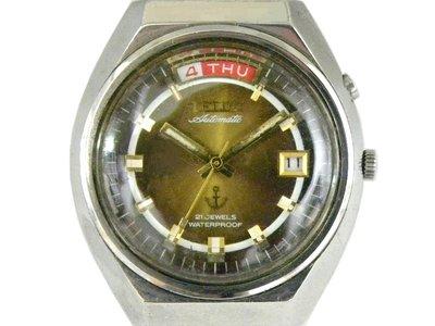 [專業模型] 機械錶 [TELUX 7815] 鐵力士 圓型[21石]自動錶[古銅色面+星+日期]中性錶/軍錶