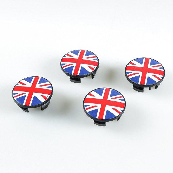 4個紅色聯合傑克英國國旗樣式中心輪圈蓋MINICooperR50R52R53R55R56R57R58R59R60R61