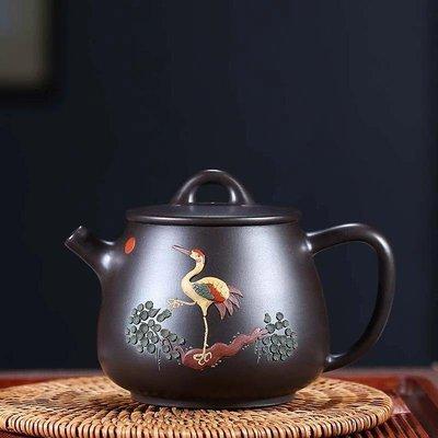 宜興紫砂壺~彩繪高石瓢/原礦黑泥
