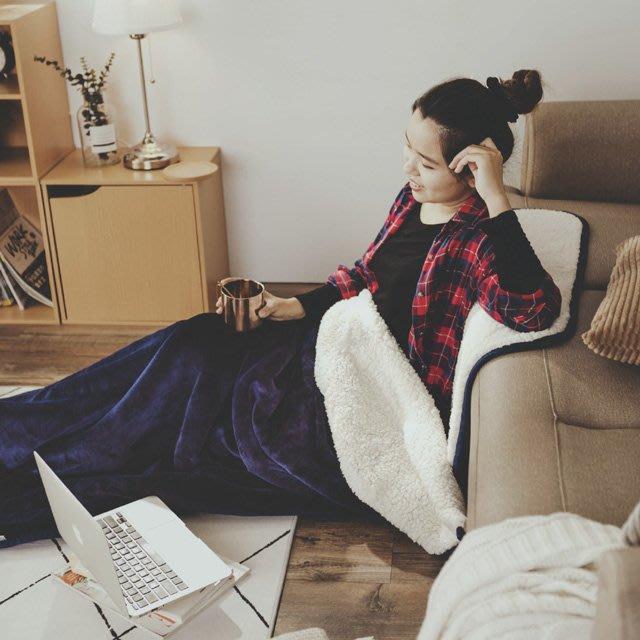睡袋 黛藍 加厚版法蘭羊羔絨睡袋毯(1.64kg)-絲薇諾