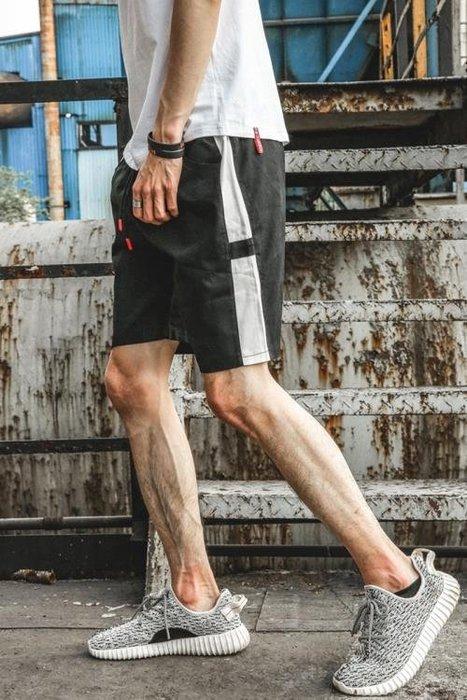 日繫夏裝青少年短褲男正韓白條運動五分褲短褲男薄休閒褲短褲男潮禮物