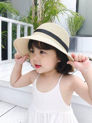 兒童夏天防曬草帽沙灘遮陽帽大帽檐親子母...