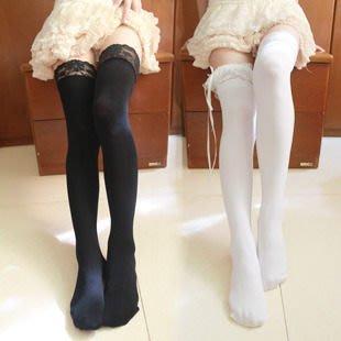 百搭 貓熊繽雰 基礎寬蕾絲百搭花邊天鵝絨柔軟加固防滑鎖邊不透肉過膝襪長高筒襪大腿襪 cos襪黑白日系森女公主