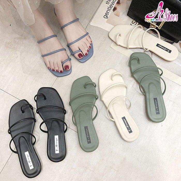 拖鞋【CM日韓鞋館】【054-Q326】韓系流行腳戒套夾式平底拖鞋.黑/米/綠/藍