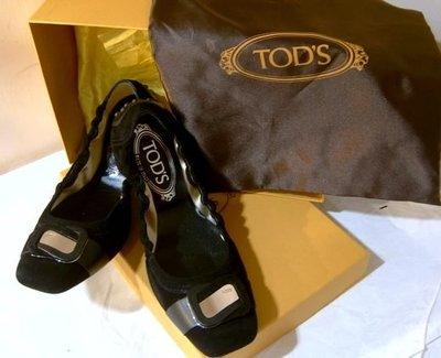 海洋工坊二手名牌旗艦店~ TOD'S 黑麂皮娃娃鞋
