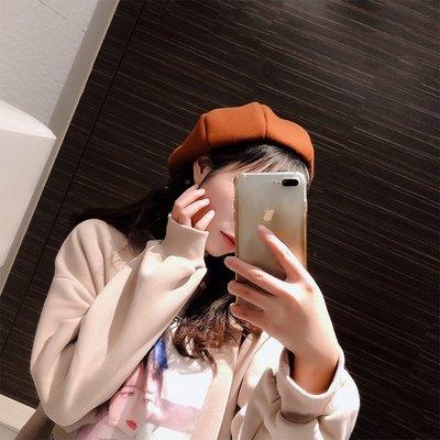 帽子女冬天可愛貝雷帽韓版簡約純色日系學生百搭毛呢畫家帽八角帽