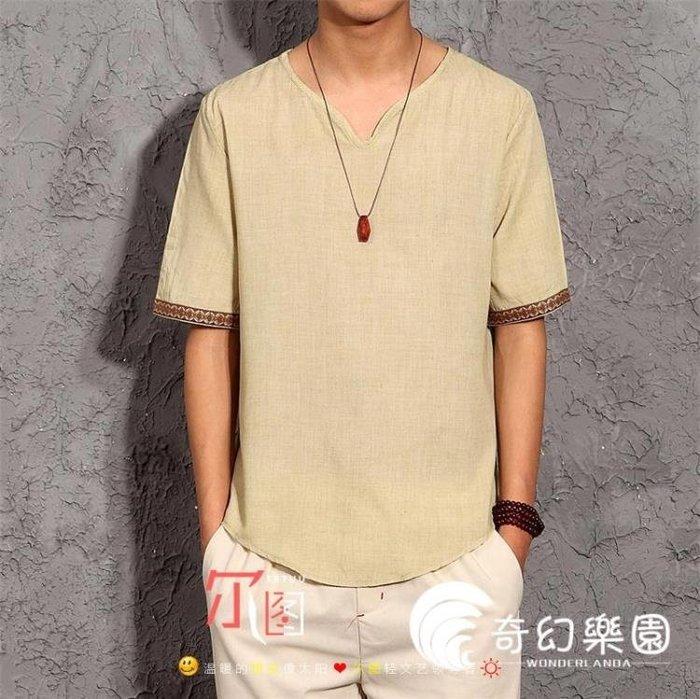 夏季中國風情侶短袖寬松棉麻柔軟透氣涼爽亞麻布t恤衫 男英倫上衣