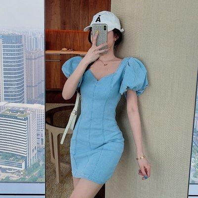 連衣裙收腰顯瘦氣質時尚泡泡袖性感包臀牛仔裙2020新款氣質修身裙
