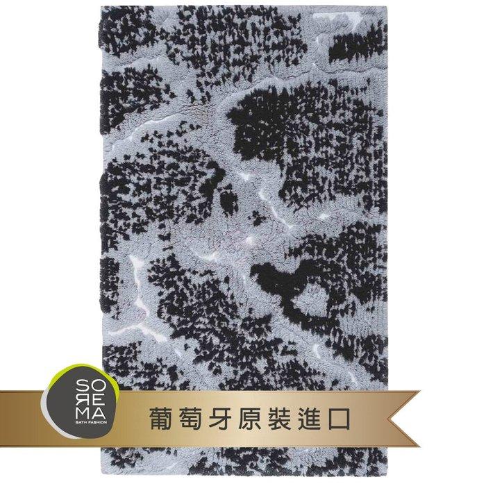 【Sorema 舒蕾馬】奢華時尚-MARBLE 銀黑 腳踏墊 50x80cm(南歐明星品牌 頂級SPA渡假飯店衛浴品味)