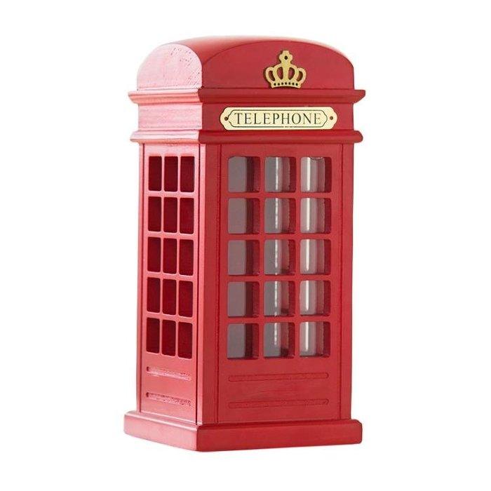 儲蓄罐超大倫敦電話亭存錢罐創意成人木質零錢罐英倫家居擺件