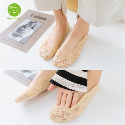 女襪 韓國蕾絲隱形襪船型襪防滑襪綿底3...