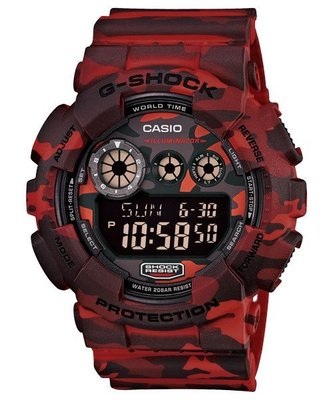 BEETLE PLUS CASIO G-SHOCK GD-120CM-4DR 日版 紅迷彩 叢林 迷彩 三顯 手錶