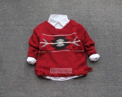 。2隻兔子優質童裝。Z牌 女童 紅色下擺流蘇上衣/毛衣 2-8Y(SC06)冬季款