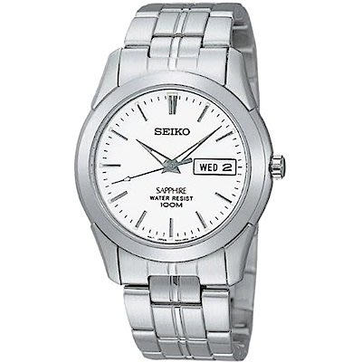 可議價.「1958 鐘錶城」SEIKO精工錶 簡約時尚 男腕錶(SGG713J1)-白/35mm