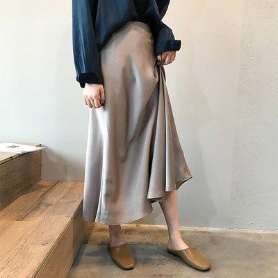 夏質感職場OL完勝靠這件魚尾裙擺 絲滑緞面光感垂墜感長裙 艾爾莎【TAE8424】