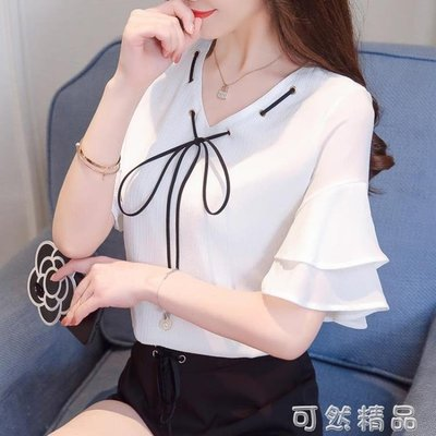 現貨/短袖女新款韓版女裝夏裝白小衫雪紡上衣襯衫超仙甜美雪紡衫女/海淘吧F56LO 促銷價
