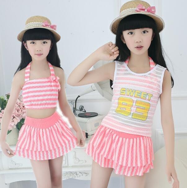 兒童游泳衣女童女孩泳裝公主比基尼寶寶分體裙式小中大童泳褲