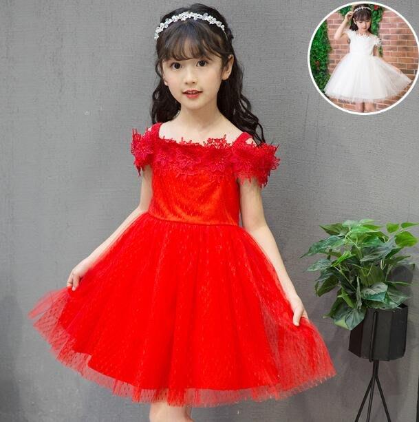 公主連身裙小女孩一字肩紅色蓬蓬演出禮服背心吊帶裙—莎芭