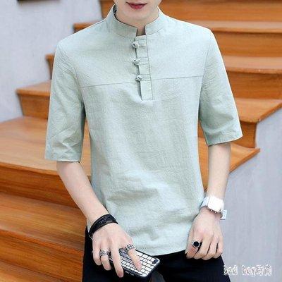 夏季唐裝五分袖T恤男短袖休閒盤扣中國風立領七分半袖衣服男潮流 QG22818