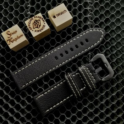 Black Embossed Leather Strap 荔枝紋 黑色白線(合PANERAI,APPLE WATCH用) 24MM 代用錶帶