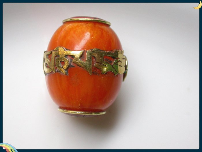 【雅之賞|藏傳|佛教文物】*特賣* 尼泊爾手工珠 六字真言轉運珠 佛珠手珠飾品配件~Q1525