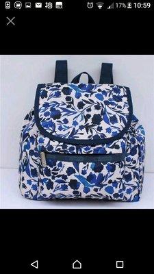 agnes b. 舖 美國 LeSportsac藍色優雅花時尚迷你雙肩後背包旅行包 媽媽包 9808 搭牛仔 台北市